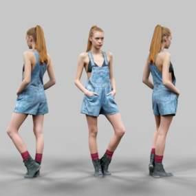 欧美休闲美女人物模特3D模型【ID:332320004】