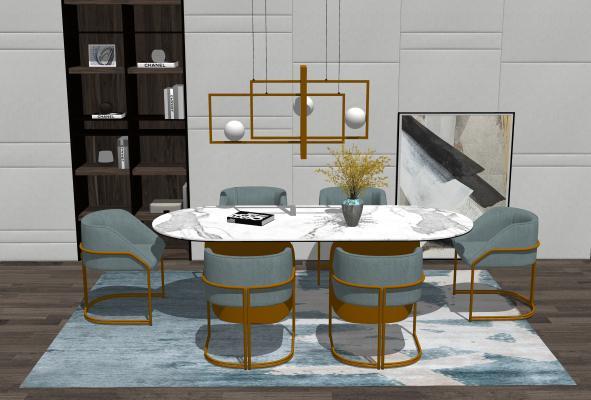現代餐桌椅組合SU模型【ID:647770655】