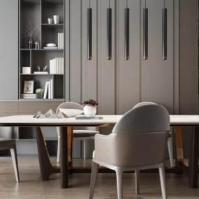 现代餐桌椅组合3D模型【ID:530428198】