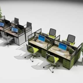 现代办公桌椅组合3D模型【ID:930743182】