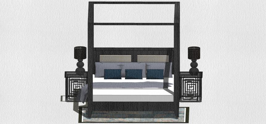 新中式雙人床SU模型【ID:548849255】
