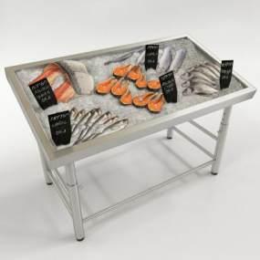 现代海鲜冷冻销售展示架3D模型【ID:132559157】