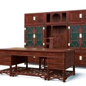 中式明式书桌组合3D模型【ID:952525011】