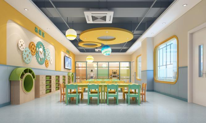 现代幼儿园科学发现室 齿轮墙 地球灯