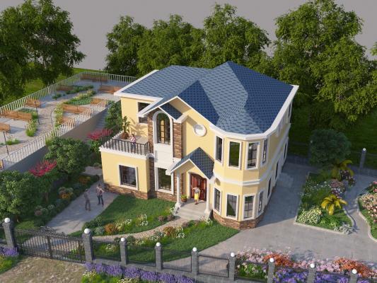 美式别墅3D模型【ID:145879374】