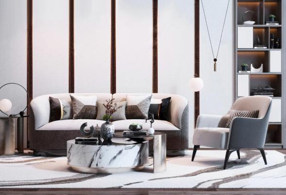现代沙发茶几组合3D模型【ID:643894626】