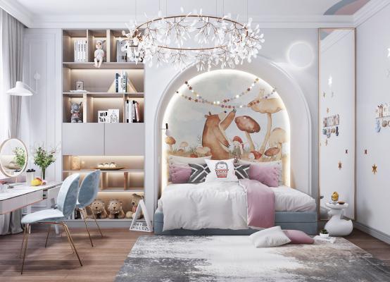 现代风格女孩房 床 吊灯