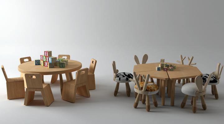 现代儿童桌3D模型【ID:947663376】