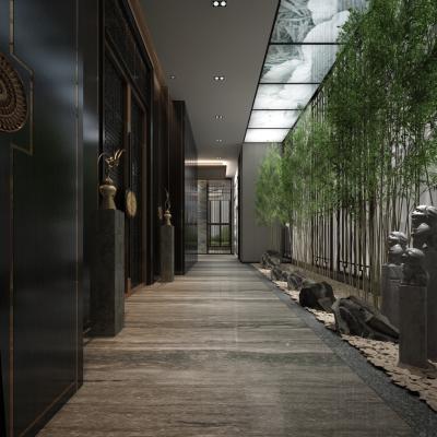 新中式過道走廊3D模型【ID:945767539】
