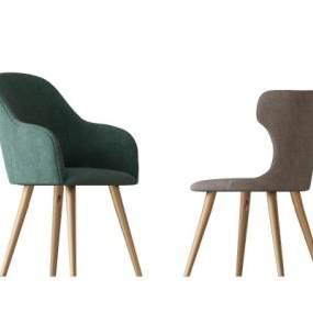 现代布艺金属单椅组合3D模型【ID:734485089】