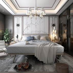 中式卧室3D模型【ID:532869242】