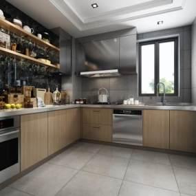 北欧风格厨房大气奢华3D模型【ID:536232328】