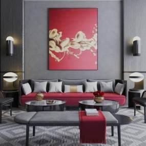 新中式沙发组合3D模型【ID:644393778】