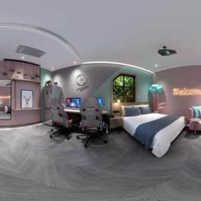 现代电竞酒店大床房3D模型【ID:750648359】