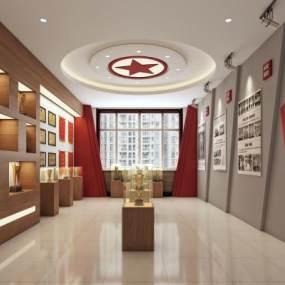 现代简约荣誉展厅红色展厅3D模型【ID:932245978】
