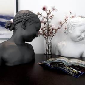 現代小女孩與花雕塑組合擺件3D模型【ID:234699595】