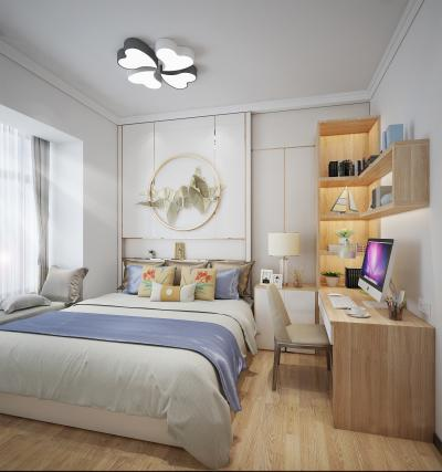 新中式现代卧室3D模型【ID:542300268】