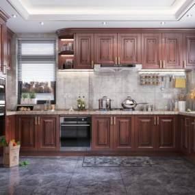 新中式風格廚房3D模型【ID:551373377】