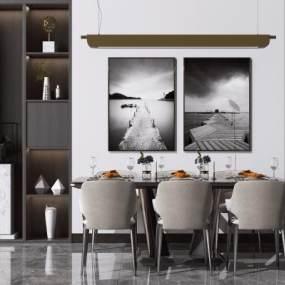 現代輕奢餐桌椅組合3D模型【ID:848853833】