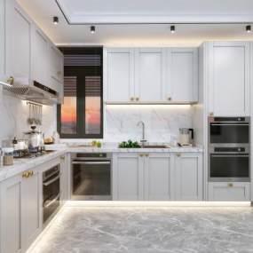 现代厨房3D模型【ID:536079317】