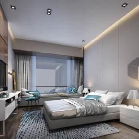 现代风格卧室3D模型【ID:543459282】
