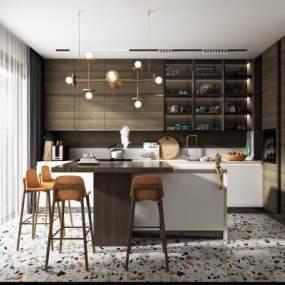 现代轻奢厨房3D模型【ID:553009386】
