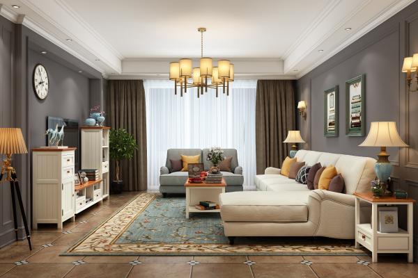美式客厅多人沙发茶几电视柜边几吊灯