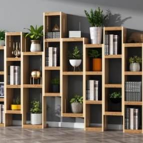现代书柜3d模型【ID:142396528】