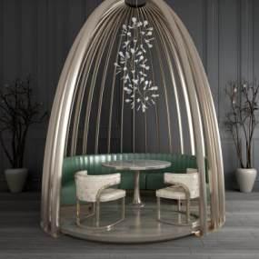 现代简约圆形餐桌椅 3D模型【ID:642357728】