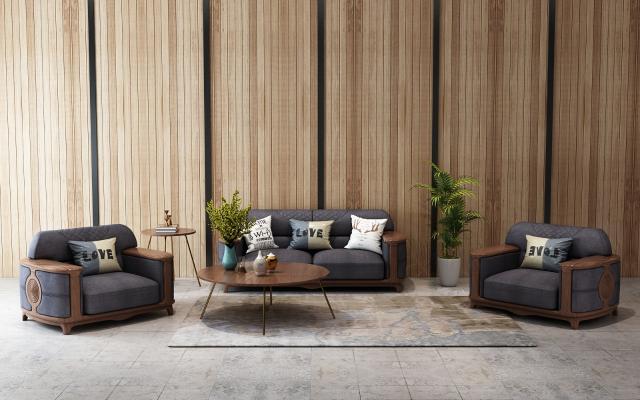 現代實木沙發茶幾組合家具3D模型【ID:642839708】