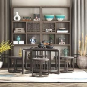 新中式茶室3D模型【ID:650904159】