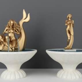 广场美人和鱼雕塑3D模型【ID:236149503】