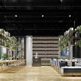 现代简约餐厅咖啡厅酒吧3D模型【ID:635940226】