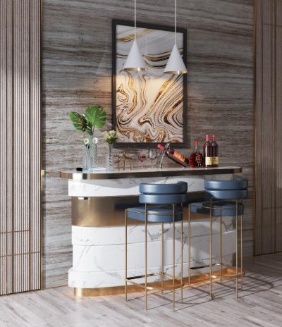 现代轻奢吧台吧椅组合3D模型【ID:953323234】