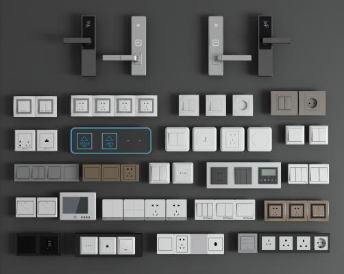 现代简约金属开关插座3D模型【ID:342689396】