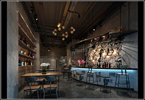 工业风酒吧3D模型【ID:834717022】