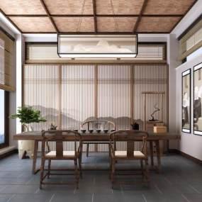 新中式茶室3D模型【ID:636083112】