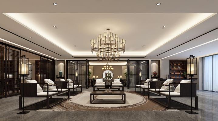中式风格酒店会客厅3D模型【ID:731005560】