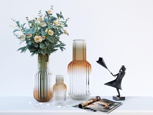 北欧轻奢玻璃花瓶饰品摆设品3D模型【ID:249035570】