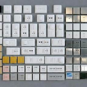 现代开关插座面板3D模型【ID:333167368】