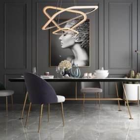 北欧现代轻奢餐桌椅3D模型【ID:842542847】