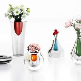 現代時尚彩色玻璃花瓶3D模型【ID:652600834】