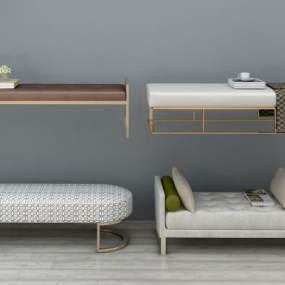 现代床尾凳组合3D模型【ID:734501668】