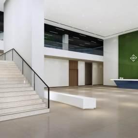 现代简约风格办公大厅3D模型【ID:946196379】