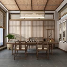 新中式茶室3D模型【ID:634664194】