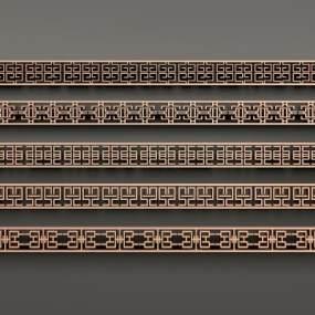 中式金属花格线条组合3D模型【ID:331765749】