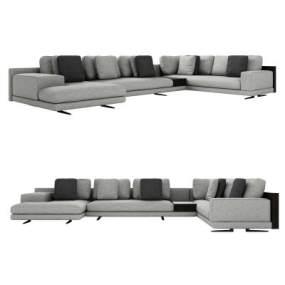 现代布艺多人转角沙发3D模型【ID:643418724】