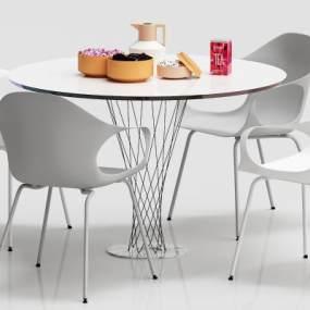 现代圆形餐桌3D模型【ID:832122895】