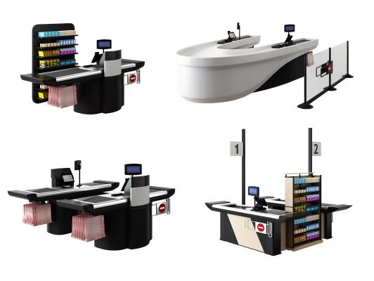 现代商场超市收银台组合3D模型【ID:442153565】