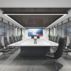 现代办公会议室3D模型【ID:948603133】